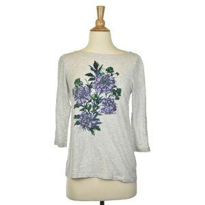 Ann Taylor LOFT Grey Shirt With Flower Graphic